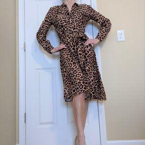 ZARA NWOT Cheetah Print Waist Tie Shirt Dress